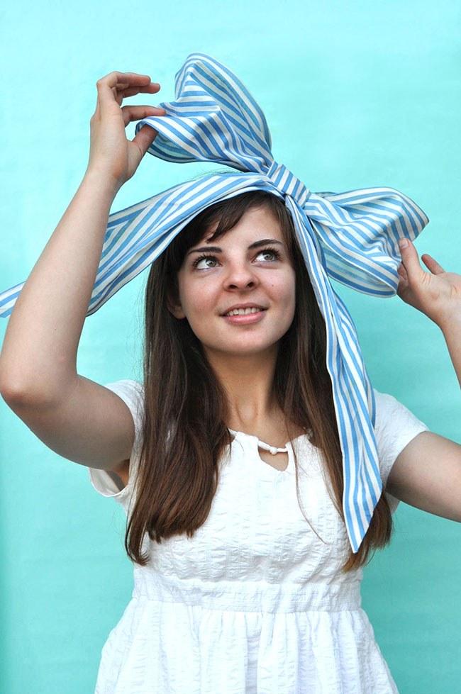 Как сделать огромный бант на голову