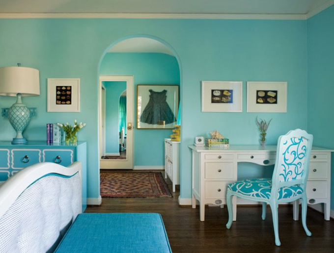 Turquoise color in interior