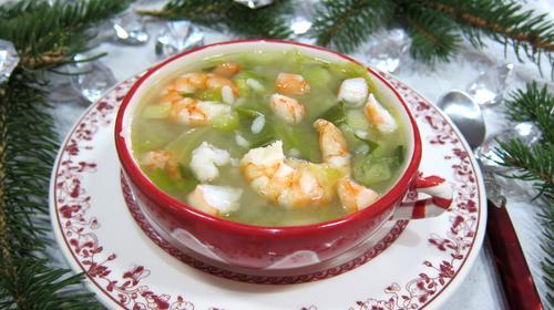 Рисовый суп с креветками