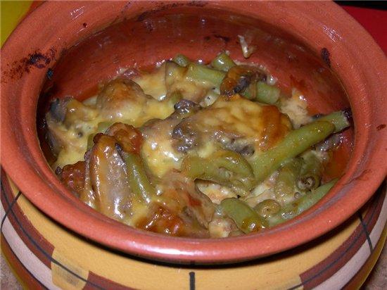 Баранина со стручковой фасолью и сладким перцем в горшочке