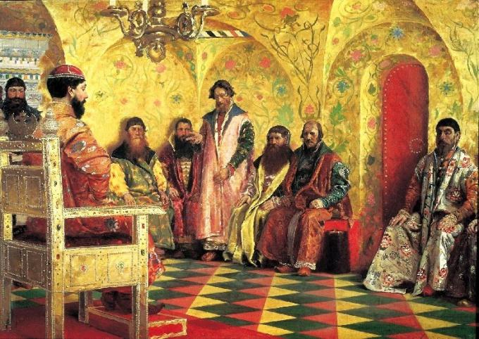 Сидение царя Михаила Федоровича с боярами в его государевой комнате (А.П. Рябушкин)