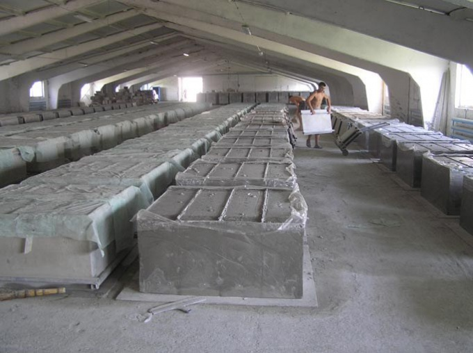 бетонные формы застывают