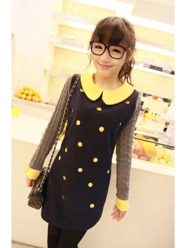 черное платье в желтый горошек