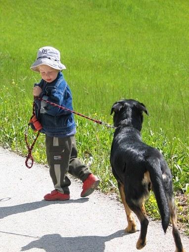 Малыш гуляет с любимой собакой