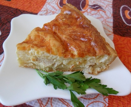 Quiche Lorraine with cheese and rabbit