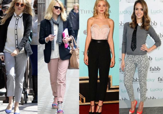 Что носить с укороченными брюками