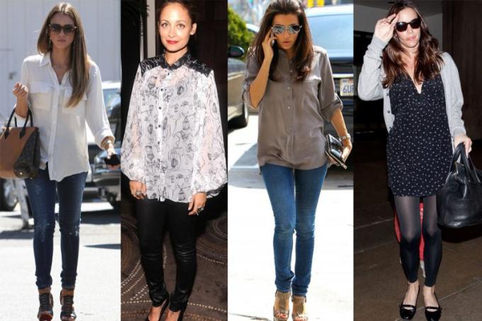 С чем носить длинную блузку