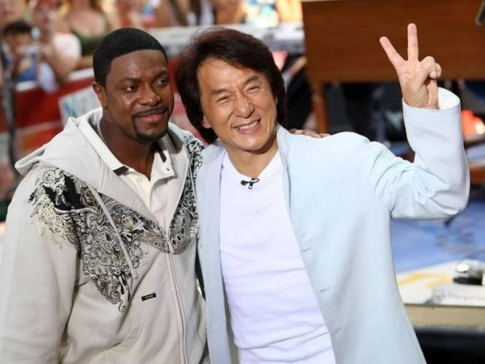 Джеки Чан и Крис Такера на съемочной площадке