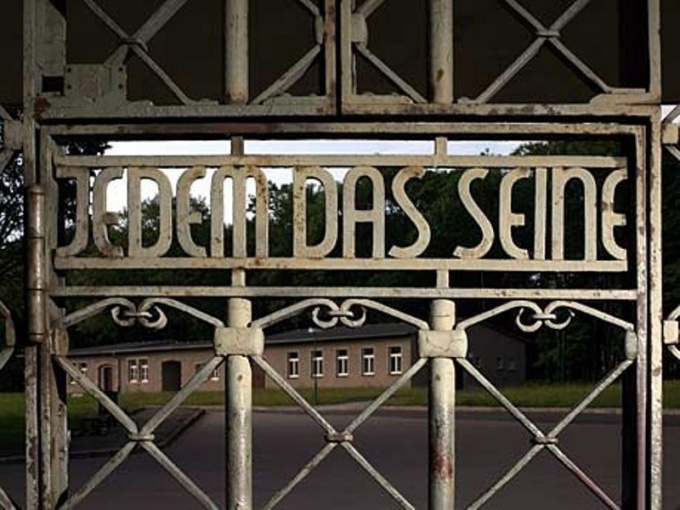 What is written on the gates of Buchenwald