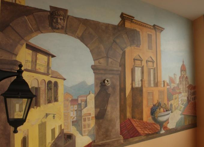 Стена с росписью по штукатурке