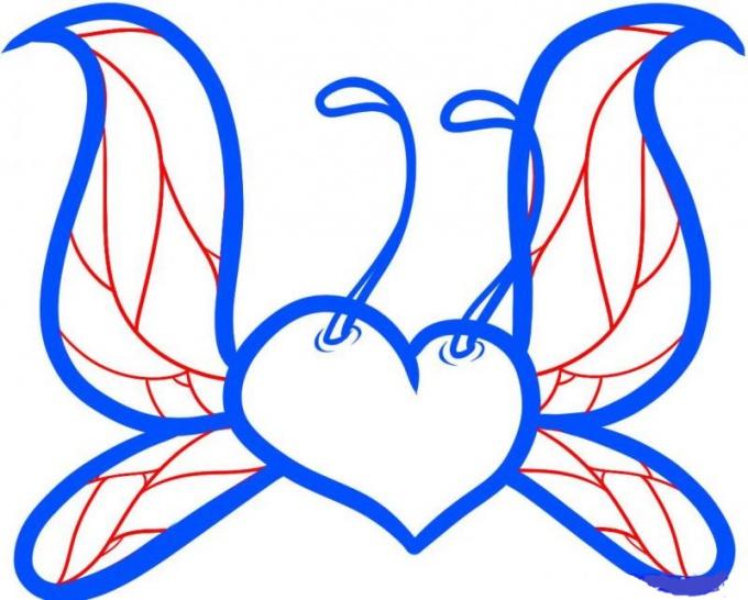 Как нарисовать сердце с крыльями бабочки