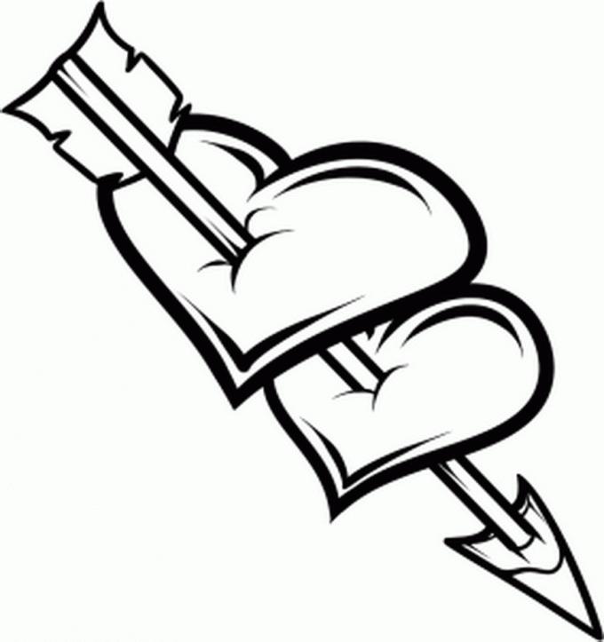 Как нарисовать сердце со стрелой