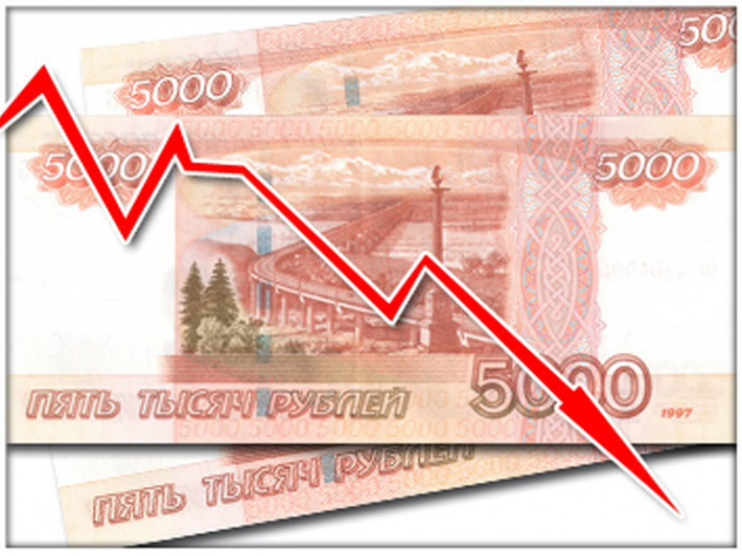 Курс рубля падает по отношению к доллару и евро