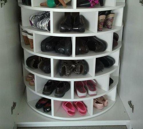 Как сделать полку-карусель для обуви