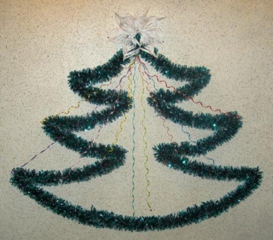 Сделать елку из дождика своими руками