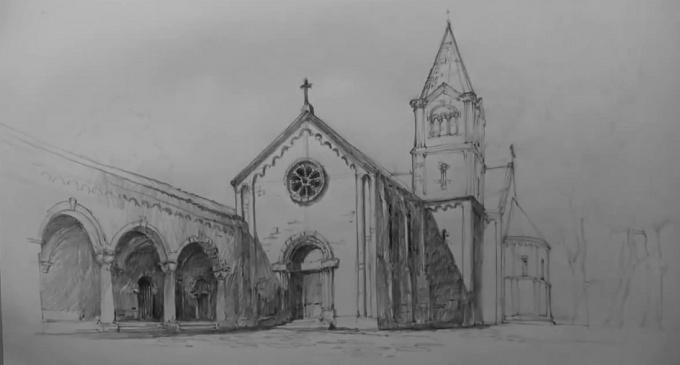 Как нарисовать церковь карандашом поэтапно