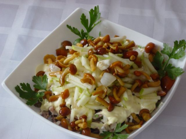 Salad with pickled mushrooms - 3 of the best recipe
