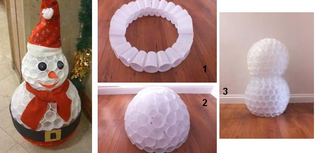 Снеговик из пластиковых стаканчиков быстро и просто