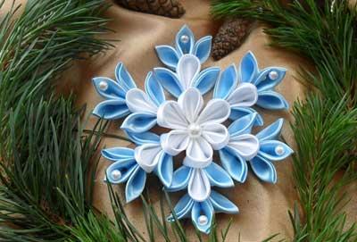 Новогодние снежинки из лент своими руками