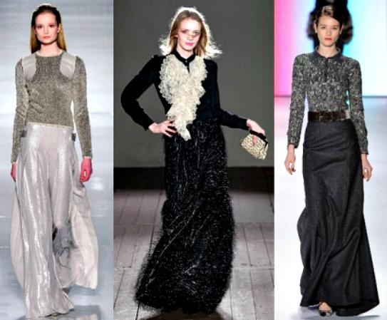 С чем носить длинные юбки зимой