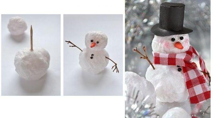 Снеговичок из ваты - быстро и просто