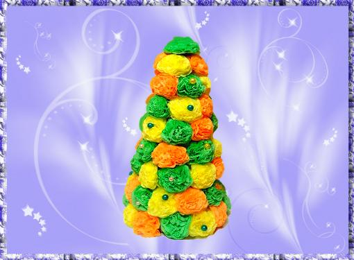 Создаем новогоднюю елочку из салфеток