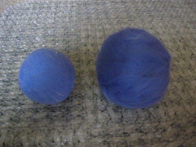 Сваляный шарик уменьшается на 30%