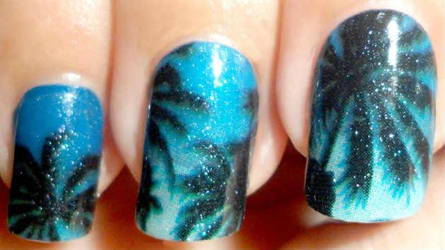 Как нарисовать тёмные пальмы на ногтях