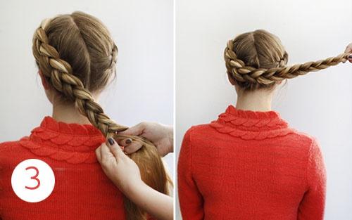 Как делать косу по всей голове