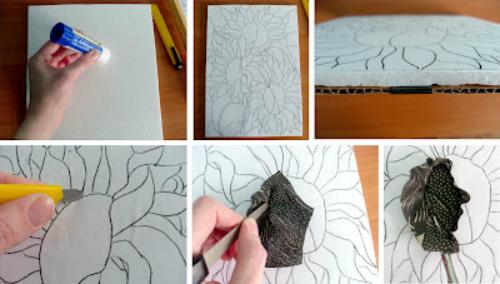 """Как сделать картину """"Подсолнухи"""" способом пэчворк без иглы"""