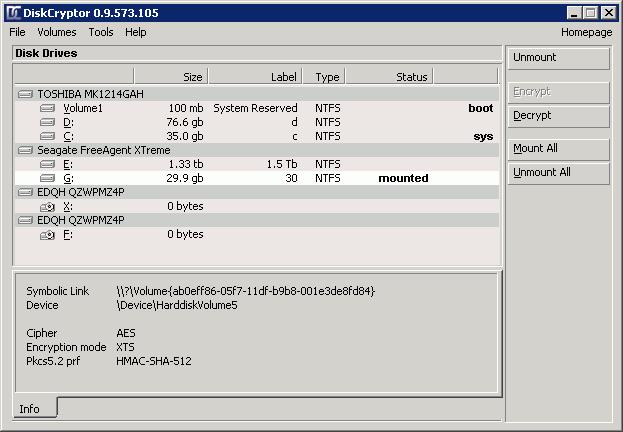 Окно программы DiskCryptor