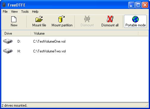 Окно программы FreeOTFE