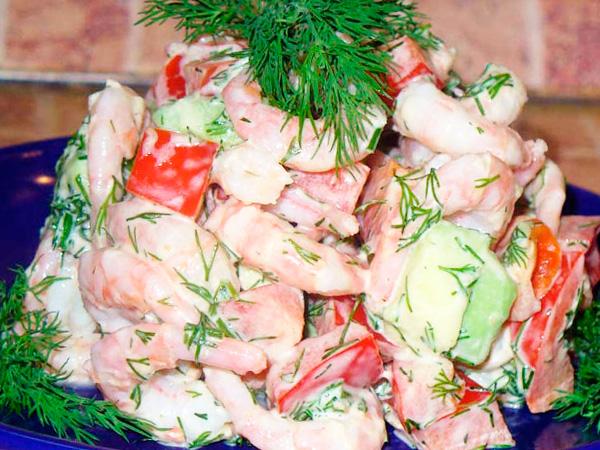 Вкусный креветочный салат