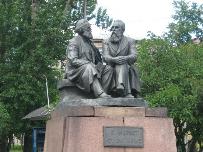 The monument to K. Marx and F. Engels, Petrozavodsk