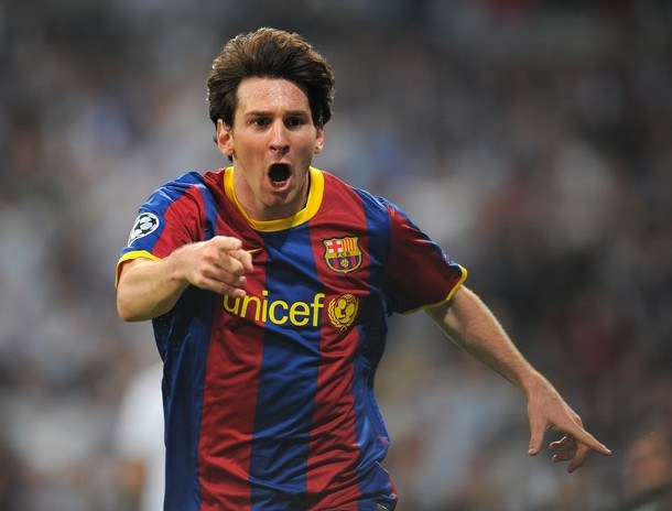"Lionel Messi celebrates another goal in the ""Barcelona"""