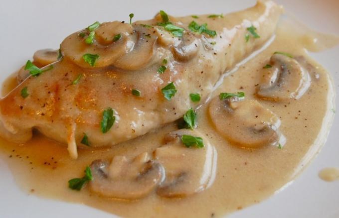 Рецепт курицы со сливками и грибами