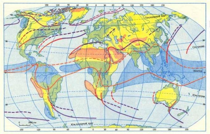 Атмосферный фронты на климатической карте