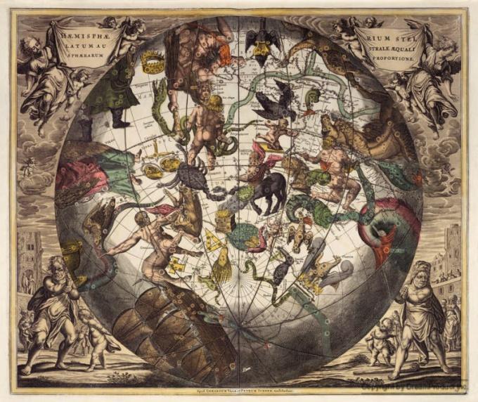 Южные созвездия на старых картых