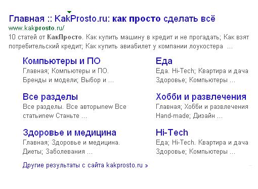Сниппет сайта KakProsto.ru в Google