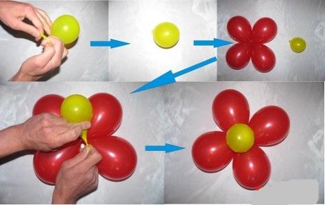Как сделать цветок из круглых шаров своими руками