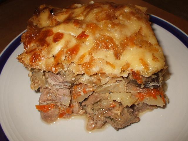 Домашнее запеченное мясо с консервированными грибами