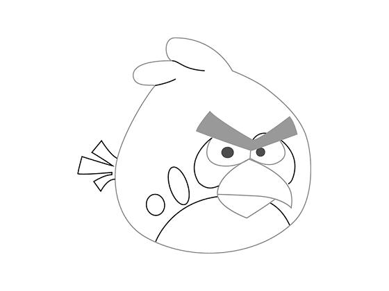 Как нарисовать Красную Птицу из Angry Birds поэтапно