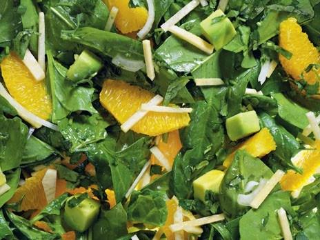 Салат из шпината с апельсинами и авокадо