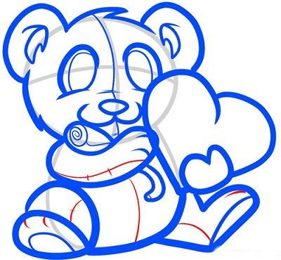 Как нарисовать мишку с валентинкой поэтапно
