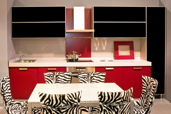 Kitchen interior in red and black
