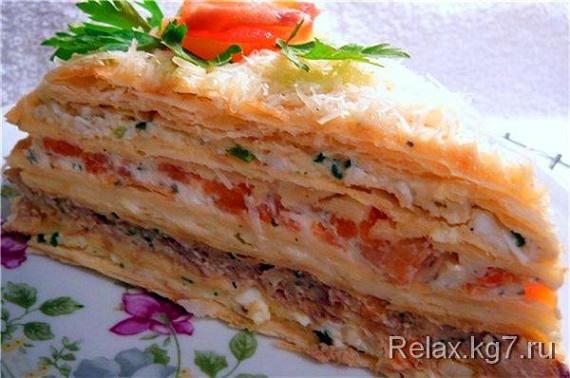 необычный и вкусный торт салат