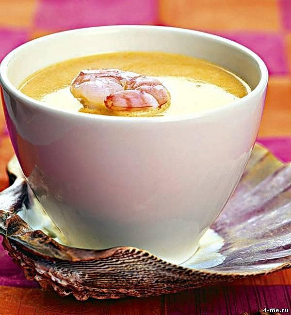 Биск-суп из креветок с коньяком и сливками