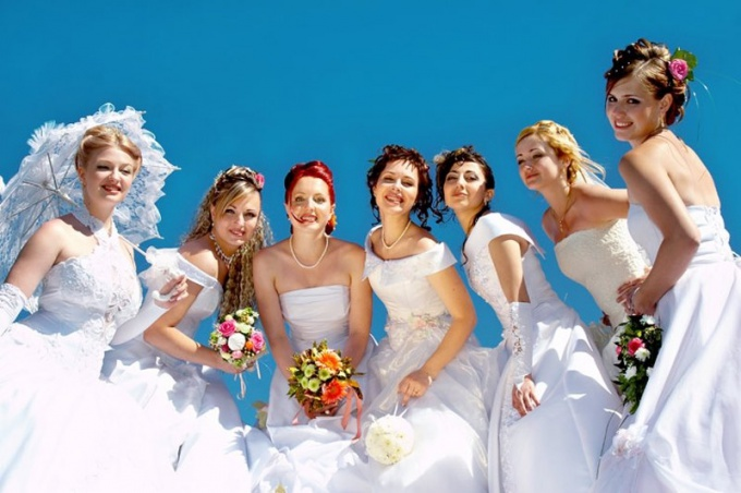 What dream brides in white dresses