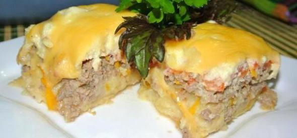 Мясная запеканка с сыром