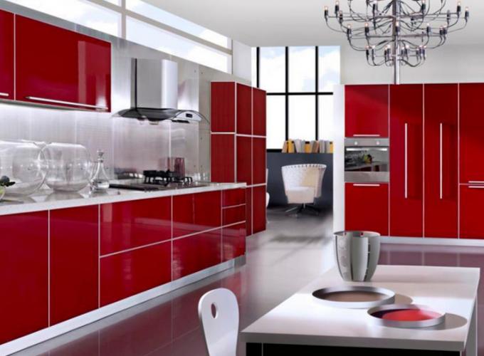 Кухня в красно-белом цвете
